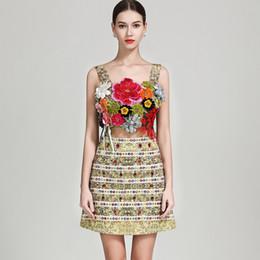 9400698ae 2019 Runway Twinsets sexy correas espaguetis apliques bordado sujetador  blusa con una línea de falda de moda de dos piezas Vestidos Conjuntos