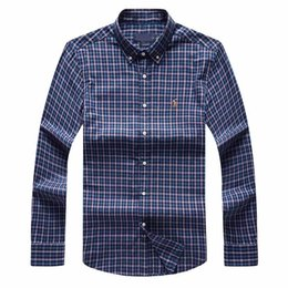 $enCountryForm.capitalKeyWord NZ - bbbb Shipping plaid lapel men's long sleeved Cotton Shirt Men Navy Blue POLO Shirts Oxford Business Casual Shirt Small Horse Clothes s-xxxl