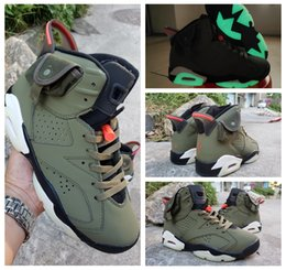 dark green basketball shoes Australia - New Arrived Travis Scotts 6 OG Cactus Jack Glow In Dark 3M Reflective Army Green Men Designer Basketball Shoes 6s Sports Sneakers 7-13