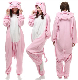 Adult Polar Fleece Cosplay Pig Costume Cartoon Animal Onesie Pink Pajama  Halloween Carnival Masquerade Party Jumpsuit 58b8e3197