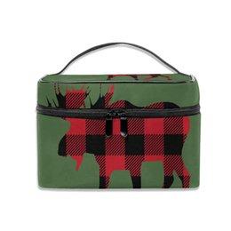 $enCountryForm.capitalKeyWord Australia - Storage Bag Buffalo Plaid Moose Lumberjack Red Black Multifunction Dual Compartment Portable Waterproof Cosmetic Bag
