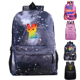 Hot Backpacks Australia - Hot Cartoon Unicorn Backpack Children School Bags Galaxy Space for Women Men Casual Rucksack Unicorn Starry Night Travel Bags