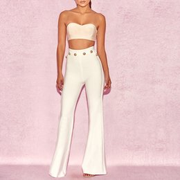 abf051e26a8 CIEMIILI Bandage Women Sets Two Piece Set 2019 New Fashion Evening Party  Sexy Club Summer Suits Strapless Top and Long Pants