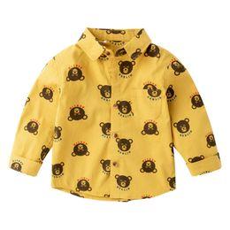 Cute Spring Shirts Australia - Boys Shirts 2019 new Spring long sleeve Children Shirts Cotton cute Cartoon casual Kids Shirts Kids Designer Clothes Boys clothing A2769