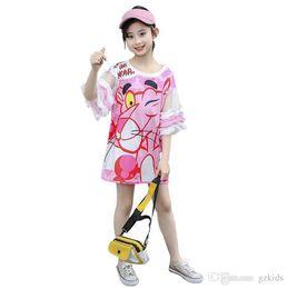 $enCountryForm.capitalKeyWord Australia - Korean cartoon leopard print girl's dress screen stitching children's T-shirt skirt the best gift for girls