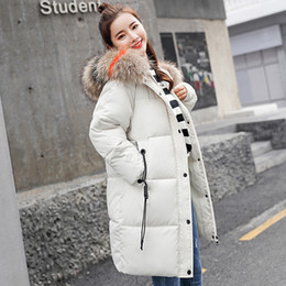 Long Hair Women Australia - Luxury Down Jacket Cotton Womens Long Section Korean version of the Large hair collar women cotton padded loose padded jacket winter coat