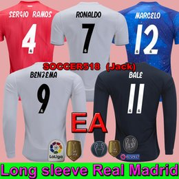76a0f14922fa7 manga larga Real Madrid 18 19 EA Sports NAVAS COURTOIS camiseta de fútbol  blanca CASILLA ZIDANE camiseta negra de fútbol BENZEMA