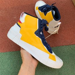 173c4938 With stock x 2019 Hottest Authentic Blazer Mid High sacai White Black  Legend Blue With The Dunk Snow Beach running Shoes