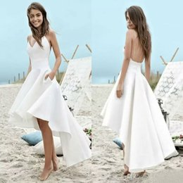 Discount wedding dress pockets spaghetti straps - 2019 Cheap Wedding Dresses Spaghetti Straps Hi Lo Sexy Backless Bridal Gowns with Pockets Designer Wedding Dress Fast Sh