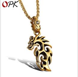 Necklaces Pendants Australia - Men's Necklace Titanium Steel Flame Dragon Pendant Containing Chain Pendant Accessories