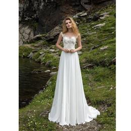 $enCountryForm.capitalKeyWord Australia - Simple White Chiffon Wedding Dresses 2019 Sexy Backless Beach Bridal Dresses Cap Sleeves Lace Country Bridal Gowns Custom Boho Wedding Gowns