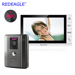 video recording systems 2019 - REDEAGLE 9 inch LCD Home Wired Video Door Phone recording Intercom Entry Security System with Wide Angle Camera MAX. 32G