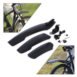 Plastic Lighting Australia - Flectional MTB Bike Front Back Rear Mudguard Set front rear Fender kit lightweight Quick Release Plastic Bicycle Fender with LED Light
