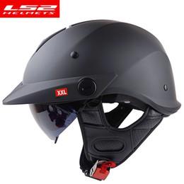 Ls2 Half Face Helmet Australia - LS2 of590 Chrome motocycle helmet open face Vintage harley moto helmet with inner sun lens half face motorbike helmets DOT