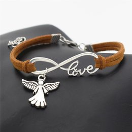 Angel Bracelets Wholesale Australia - Fashion Women Men Gifts Antique Silver Color Infinity Love Cute Wings Angel Charm Brown Leather Suede Bracelet Bangles Unique Angels Jewelry