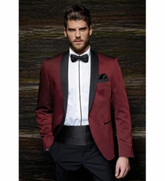 royal ball suit NZ - XLY 2019 Fashion One Button Burgundy Groom Tuxedos Groom Men's Wedding Suits Ball Gown Wedding Wear Men's Suit JacketPants Belt