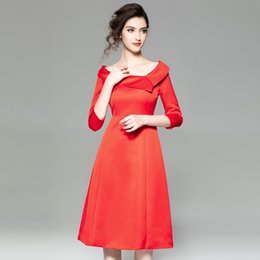 b6535058c1 A Calf Length Slash Neck Work Dress for Office Lady Europe Station 2019  Spring New Red Slim Slanted Collar Seventh Length Sleeve Work Dress