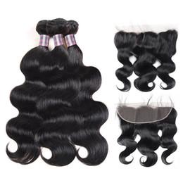 cheap body wave human hair 2019 - Indian Human Hair Cheap Body Wave 3Bundles With 13*4 Lace Frontal Brazilian Peruvian Malaysian Virgin Hair Wholesale Hum