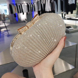 Wholesale Fashion Gold Box Women Clutch Handbag Lady Pouch Purse Bags Chain Shoulder Metal Bow Evening Bag Y19051702