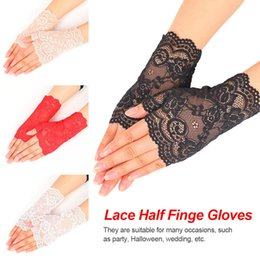 $enCountryForm.capitalKeyWord Canada - Sheer Floral Lace Fingerless Gloves Women Black Rose Gloves Scalloped Trim Summer Outdoor Sun-Blocking Mittens 2019 New Arrival