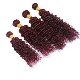 $enCountryForm.capitalKeyWord Australia - Pour Color Wine Red Burgundy Deep Wavy Hair 4Bundles 4Pcs Lot Deep Wave Human Hair Extension #99J Hair Weaves 10-30 Inch