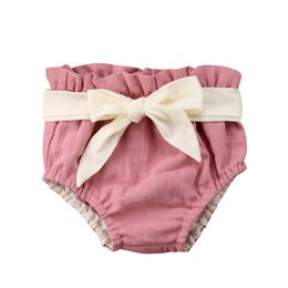 diaper bloomers girls Canada - Summer Baby Boy Girl Bowknot Shorts Toddler Newborn Baby Solid Harem PP Pants Shorts Bottoms Short Pants Bloomer PP Diaper Cover