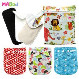 One Size Diaper Australia - MABOJ Pocket Cloth Diaper One Size Resuable Cloth Nappy AIO Diaper Waterproof Cloth Diapers Bmaboo Charcoal Microfiber Insert