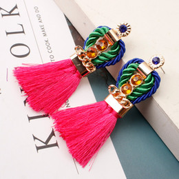 Hand earrings online shopping - 12 colors Kendra Scott bohemian hand woven diamond palace style personality exaggerated crown tassel earrings ladies earrings retro jewelry