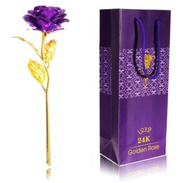 gold mum Australia - 24K Gold-Plated Rose Flower Mother's Day Valentine's Day Mum Anniversary Girlfriends wife Gifts gold red  purple Rose Flora