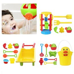 Tools Play Sand Australia - Kid's Beach Sand Playing Toys Set Hourglass Cart Duckling Bucket Toy Smooth Non-toxic Plastic Bath Water Playing Tool Model Suit