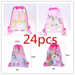 Fabric Decorations For Parties Australia - 24Pcs lot Unicorn Theme Drawstring Backpack Flower Non-woven Fabrics Bags Gift storage Bags Kids School Supply For Party decoration 34x27cm