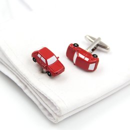 classic painted cars Canada - Classic red car shape cufflinks men's and women's French shirts special cuff nails paint color cufflinks
