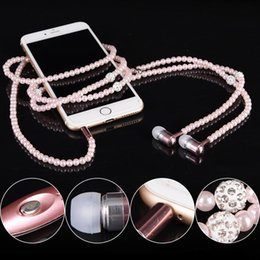 $enCountryForm.capitalKeyWord NZ - Headphone MP3 Diamond Pearl beads In Ear Necklace Earphones With Mic Fashional gift Girls Phone Earbuds Headset Gifts High Quality MQ50