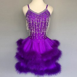 Wholesale women s dance costumes resale online - New style latin dance costume sexy beads feather latin dance dress for women competition dresses A72 S XL