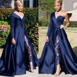 modern formal suits UK - 2020 One Shoulder Prom Dresses Pant Suits A Line Royal Navy High Split Long Sleeve Formal Party Gowns Jumpsuit Celebrity Dresses c0001