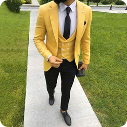 Wool Slim Fit Suits Australia - Custom Made Yellow Men Suits for Wedding Notched Lapel Slim Fit Groom Tuxedo Groomsmen Suit Bridegroom Blazer Costume Homme Terno Masculino
