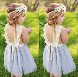 Childrens wedding dresses wholesale online shopping - Childrens Dresses for Girls Clothing Bow Lace Princess Dress Summer Sleeveless Girl Kids Ball Gown Wedding Dresses Boutique Clothes