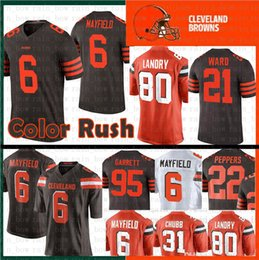 0b0949117ad Cleveland 6 Baker Mayfield Browns 21 Denzel Ward Jersey 80 Jarvis Landry 95  Myles Garrett 73 Joe Thomas 22 Jabrill Peppers Color Rush Jersey