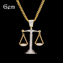 Balance Charms Australia - New Iced Out Zircon Balance Libra Scale Pendant Bling Charm White Gold Material Mens Hip Hop Pendant Necklace Chain