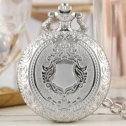 blue chain men watch Australia - Luxury Silver Shield Crown Pattern Quartz Pocket Watch Fashion Necklace Pendant Chain Jewelry Gift Steampunk Clock for Men Women
