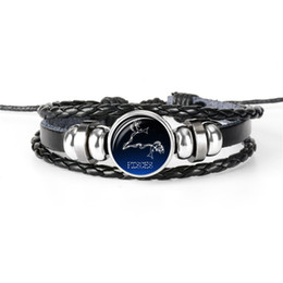 Cheap Men Jewelry Sets Australia - Hot European Cheap 12 Constellations Zodiac Pisces Time Gem Glass Cabochon Leather Rope Beaded Bracelets For Women Men Gift Jewelry pulseras