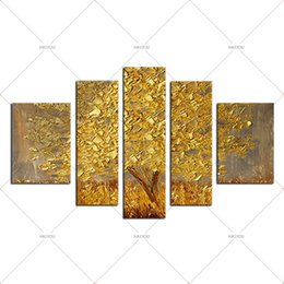 Golden Tree Painting Australia - 5 piece100% Hand Painted Oil Painting Golden Tree Modern Landscape Oil Painting On Canvas Art Wall Picture For Living Room Decor