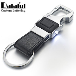 Flashlight Brown Australia - Dalaful Custom Lettering Keychain LED Lights Lamp Beer Opener Bottle Multifunctional Leather Men Car Key Chain Ring Holder K355 C19011001