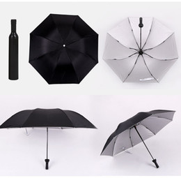 gears for sale NZ - New Creative Women Wine Bottle Umbrella 3 Folding Sun-rain UV Mini Umbrella For Women Men Gifts Rain Gear Umbrella sale GT71