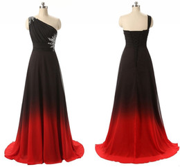 $enCountryForm.capitalKeyWord Australia - Sexy Black Red Omre Gradiant One shoulder Evening Prom Dress Real Photos Crystal Chiffon Backless Party Formal Gowns Pageant Dresses