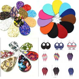 Wholesale Brincos de couro de lágrima de lantejoulas Faux Leather Water Drop Earring 10colors