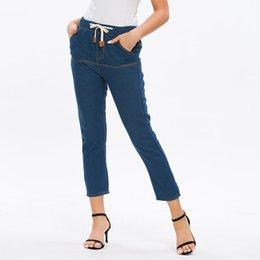 Womens casual trousers online shopping - Fashion Womens Drawstring Pocket Elastic Waist Trousers Jeans Casual Denim Pants pantalones vaqueros mujer dropshiping W924