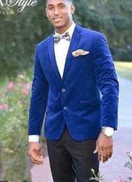 $enCountryForm.capitalKeyWord Australia - Brand New Groomsmen Notch Lapel Groom Tuxedos Blue Velvet Men Suits Wedding Prom Dinner Best Man Blazer ( Jacket+Pants+Tie) NO:1327