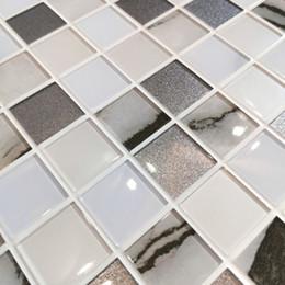 Backsplash Tiles For Kitchens Australia - 10PCS Each Pack PVC Wall StickerTile in Grey Mix for Simple DIY Interior Wall,Backsplash,Kitchen,Bathroom