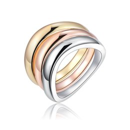 Wholesale 3Pcs Set Rose Gold Silver Color Rings Stainless Steel Ring For Women Bride Wedding Engagement Anillos Mujer bague Jewelry Z4